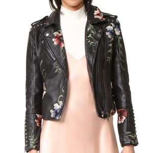 Blank NYC Embroidered Faux Leather Studded Jacket